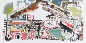 Singapore Poh Siew Wah artist. Brisky Transaction, 2018. ink & colour on paper. 35 x 71 cm