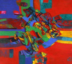 Abstract painting by Sharifah Fatimah Zubir, Malaysia. acrylic on canvas. 122 x 138 cm