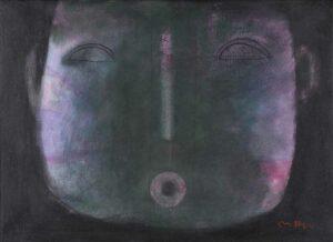 Khoo Sui Hoe artist painting. Message, 1994. oil on canvas. 55 x 75 cm. Restored aug 2019