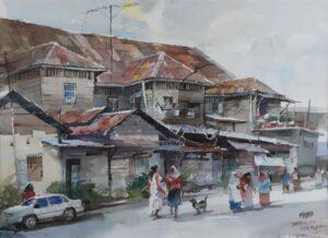 Feng Xinqun artist 冯信群 from China. Tuaran, Sabah. 2007. watercolour. 56 x 76 cm