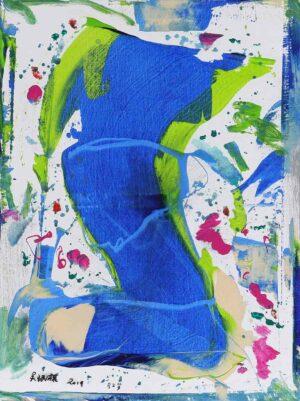 R4753. Goh Beng Kwan artist Singapore. Blue River, 2019. acrylic on canvas. 80 x 60 cm