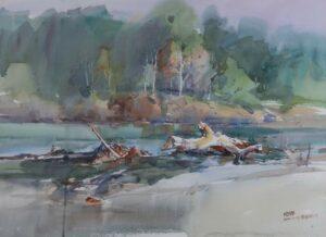 Feng Xinqun 冯信群. 寮国湄公河. Mekong River, Laos, 2001. watercolour. 56 x 76 cm.