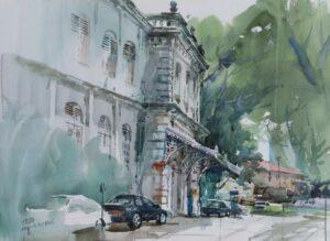 Feng Xinqun, Penang Heritage Building, 2001. watercolour. 56 x 76 cm.