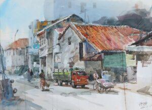 Feng Xinqun artist, Penang Street Scene, 2001, watercolour painting, 56 x 76 cm