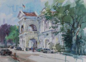 Feng Xinqun artist from China. Penang Town Hall, 2001. watercolour. 56 x 76 cm.