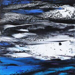 Richard Wong, Malaysian artist. Vermillion Lakes, Banff Alberta, Canada, 2018, 76 x 76 cm, Oil on canvas