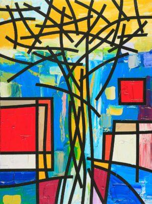 R3327. Maitree Homthong. Thailand. Tree 树. 2014. 80h x 60w cm. Oil on Canvas