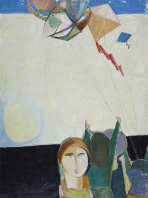 R3420. Tew Nai Tong 张耐冬. 风筝 Kites. Oil On Canvas. 120 x 90 cm. 1992.