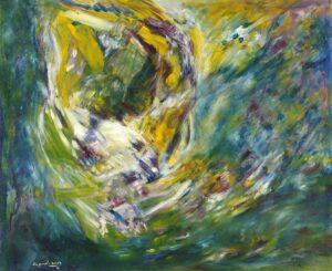 R3557 Ramli Bin Harun. Green. Oil On Canvas. 2013. 83x105cm