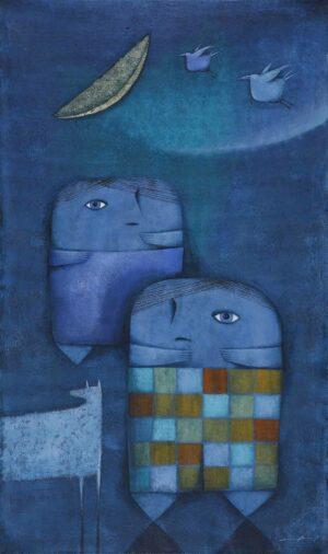 R3644. Daniel Ludvig. Blue Planet II. 2015. 150x90cm. Mixed on canvas