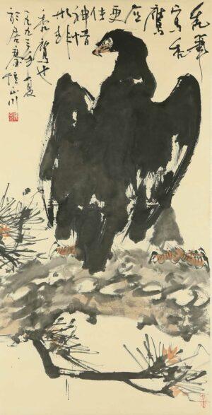 R591. Chong Chen Chuan 钟正川-秃鹰.1993. 137x 70cm (轴).
