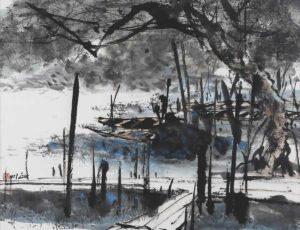 R599. Chong Chen Chuan 钟正川. Fishing Village 班茶渔村. Ink & colour on paper. 62 x 78 cm.