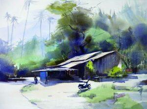 Liang Gang 梁钢 马来人家 Malay House 56 x 76cm, water colour 2015
