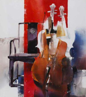 Liang Gang 梁钢 artist China. 琴缘. Watercolour. 122x110cm. 2007