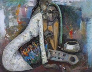 R1674. Keng Seng Choo. Delights in Life (1) 生活的情趣(一). 76 x 97 cm. oil on canvas. 1997
