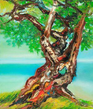 R3319 Watcharin Rodnit. Thailand. Old Tree 老树盘根. 2014. 100h x 85w cm. Oil on canvas.