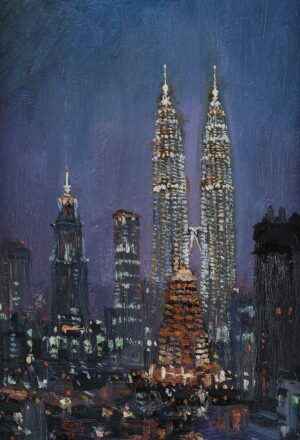 Painting by Chong Hon Fatt, 双峰塔夜景 Twin Towers Night View, 1998, oil on canvas, 38 x 30 cm.