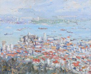 Painting by Chong Hon Fatt, Malaysian artist. Georgetown, 1999, oil on canvas, 30 x 38 cm.