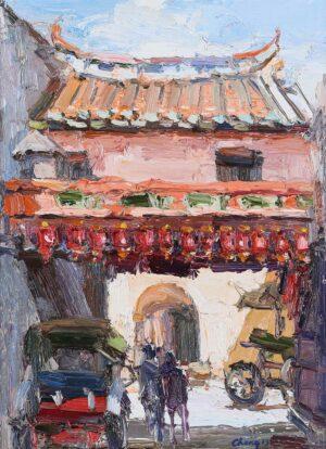 Painting by Chong Hon Fatt, Malaysian artist, Heritage Building 槟城古迹街景, 2013, oil on canvas, 40 x 30 cm.