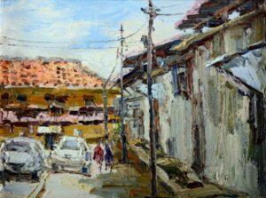 Painting by Chong Hon Fatt. Backland Penang槟城老房子的后巷, 2012, oil, 31 x 41cm.