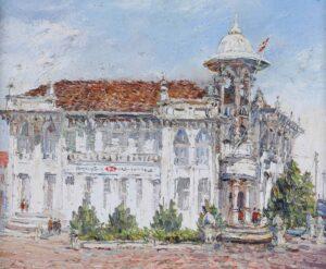 Painting by Chong Hon Fatt. HSBC Bank Sungai Petani, 1998, oil on canvas, 51 x 61 cm.