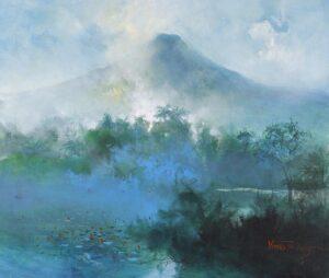 Painting by Fong Kim Sing 邝金星, Malaysian artist. Mount Jerai, 2002, acrylic on canvas, 85 x 100 cm