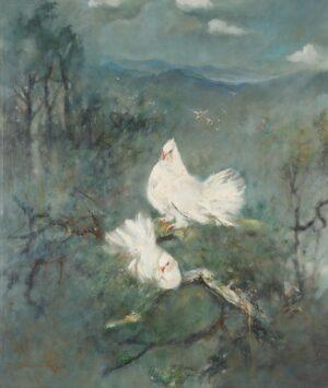 Painting by Fong Kim Sing. 双鸽,1994, 106 x 91 cm.