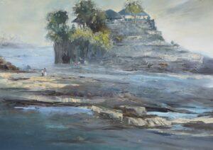 Painting by Fong Kim Sing. Bali Mist (Tanah Lot), 1997, 80 x 112 cm. 峇厘之晨 -丹那洛