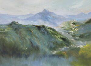 Fong Kim Sing. Bali Mist 峇厘之晨(Kintan Mani 金打马尼), 1997, oil on canvas, 80 x 112 cm