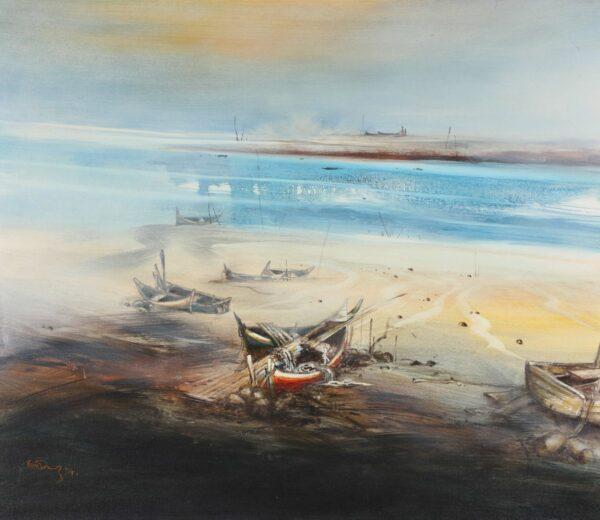 Painting by Fong Kim Sing. Kuala Kedah Port 吉打港口系列, 1994. 92 x 107 cm.