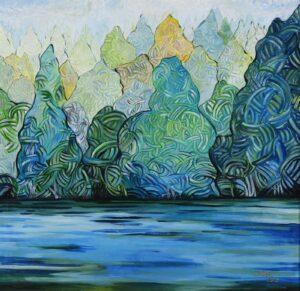 Painting by Judin Ahmad, Lembayung Pulau Tiga, 2012, acrylic on canvas, 96 x 100 cm