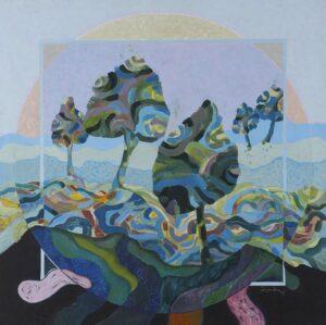 Painting by Judin Ahmad, Malaysian artist. Melata 延伸, 1987, acrylic on canvas, 91 x 91 cm.