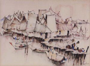Painting by Keng Seng Choo, 东海岸鱼村 East Coast Fishing Village - 13, 1982, watercolour, 38 x 56.