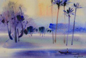 Painting by Keng Seng Choo, 傍晚景色 Evening Scene, 1988, watercolour, 38 x 56 cm