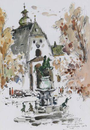 Painting by Keng Seng Choo, 欧游淡彩 Europe Tour - 1, 2014, ink wash, 30 x 41 cm