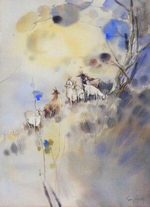 Painting by Keng Seng Choo, 羊群 A Flock Of Goats - 4, 1989, Watercolour, 56 x 76 cm