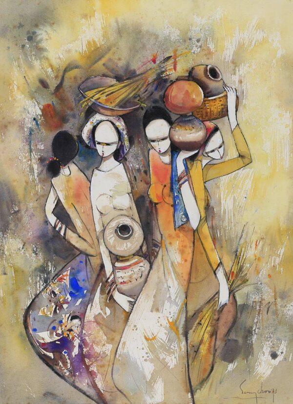 Painting by Keng Seng Choo, 赶市集 Going To Market, 1993, watercolour, 56 x 76 cm