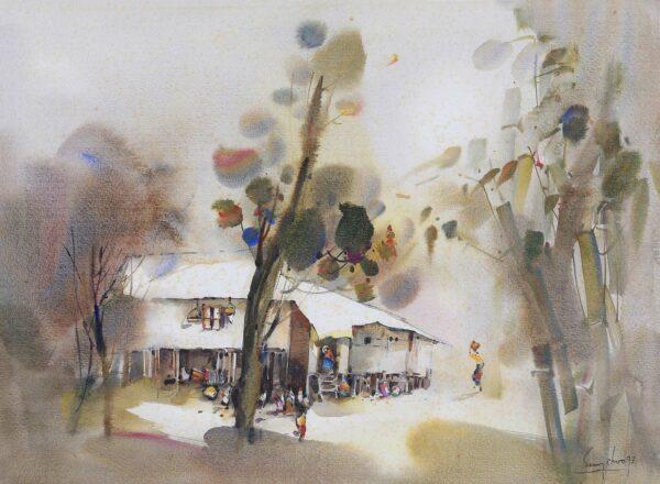 Painting by Keng Seng Choo, 马来屋 Malay House - 8, 1993, watercolour, 56 x 76 cm