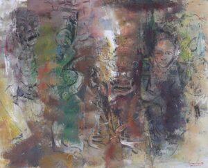Painting by Keng Seng Choo, Cultural Heritage 文化的遗迹, 1998, oil, 87 x 107 cm