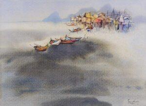Painting by Keng Seng Choo, East Coast Fishing Village - 4, 1991, watercolour, 56 x 76 cm.
