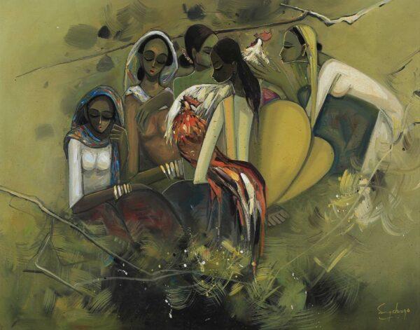 Painting by Keng Seng Choo. Joy of Living (6) 生活的情趣, 1994, oil on canvas, 76 x 96 cm