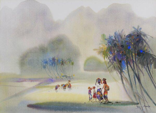 Painting by Keng Seng Chooo, 田野风光 Paddy Field Scenery - 2, 1992, watercolour, 56 x 76 cm