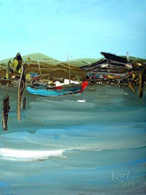 Painting by Koh Teng Huat, Malaysian artist, Seaside 峇株巴辖亚音港, 2014, oil on canvas, 40 x 30 cm.