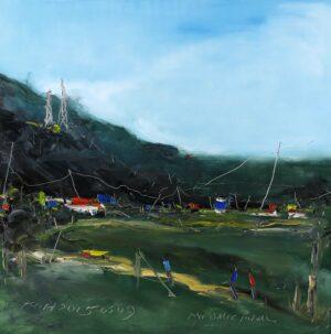 Painting by Koh Teng Huat. My Balik Pulau 我的浮罗山背, 2015, oil on canvas, 122 x 122 cm.