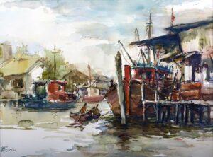Ong Choon Hoo 王春富, Malaysian Artist, 适耕庄渔村 Fishing Village Sekinchan, 2012, watercolour, 46 x 61 cm.