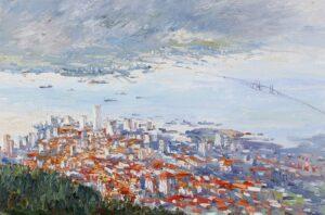 Painting by Chong Hon Fatt. Penang Bridge 槟城大桥, 1998, Oil on canvas, 61 x 91cm