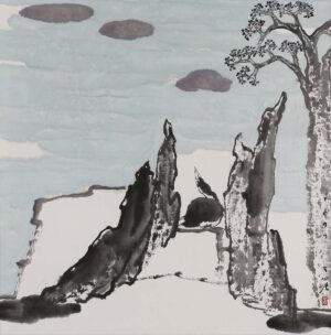 Painting by Cheah Thien Soong, Dr. 谢忝宋. 问天, 1997, 69 x 68 cm.