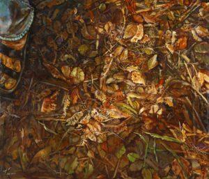 Painting by Ramli Samsuri, Malaysian artist. Bumi Yang Ku Pijak, 2011, acrylic on canvas, 100 x 116 cm