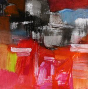 Painting by Somsak Chowtadapong, Thailand National Artist. Cappadocia, 2018, 120 x 120 cm. acrylic on canvas
