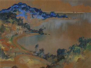 Painting by Yong Mun Seng 杨曼生, 槟城海湾, 1952, 49 x 64 cm